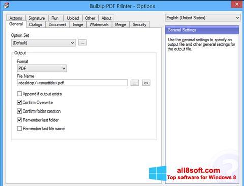 Screenshot BullZip PDF Printer Windows 8