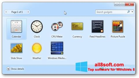 Screenshot 8GadgetPack Windows 8