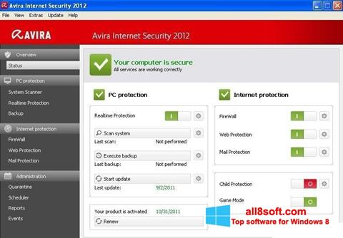 Screenshot Avira Internet Security Windows 8